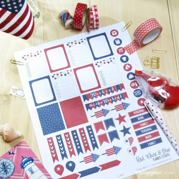 July 4th-Planner stickers