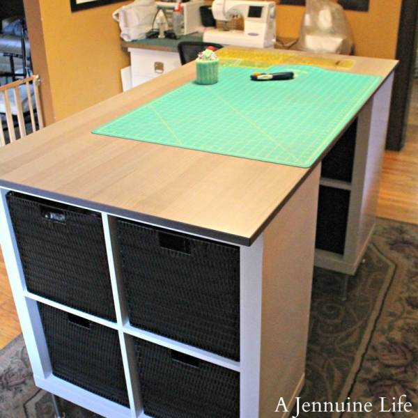 diy counter height craft table with storage scrap booking. Black Bedroom Furniture Sets. Home Design Ideas