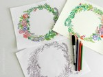 Freebie | Floral Wreath Coloring & Watercolor Pages