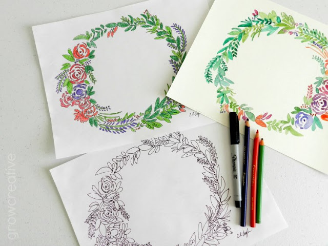 freebie floral wreath coloring watercolor pages