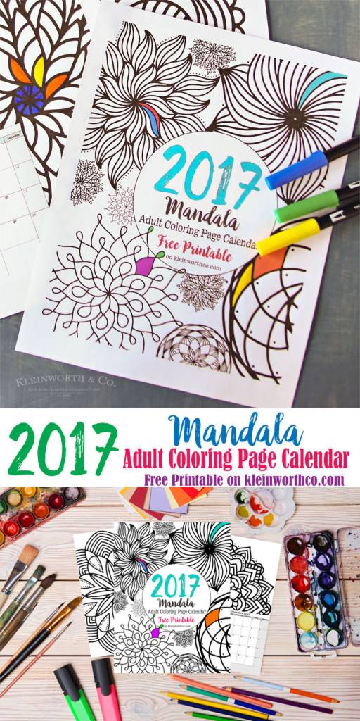 Free Printable 2017 Mandala Coloring Calendar – Scrap Booking