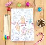 Free Gingerbread Man Printable Coloring Gift Wrap