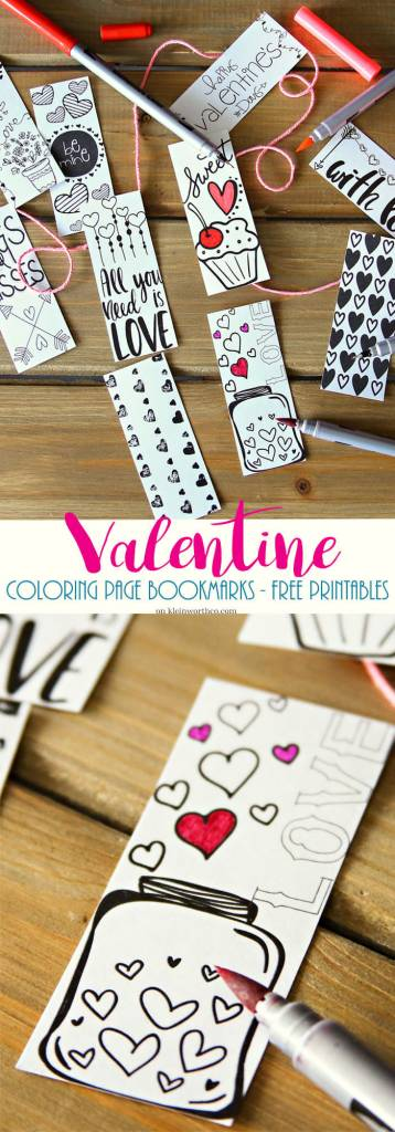 Valentine Printable Coloring Page Bookmarks Scrap Booking
