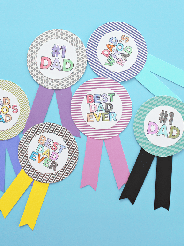 Printable Fathers Day Colouring Badges Scrap Booking