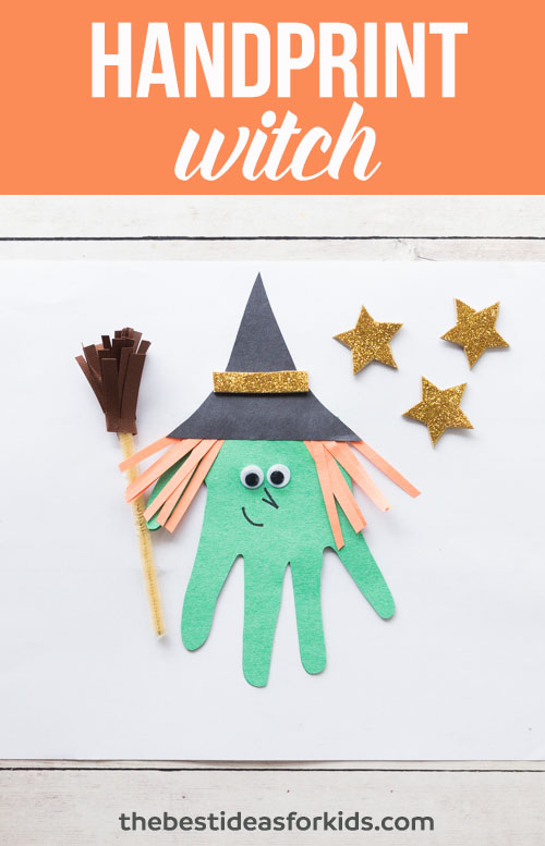 Hand Print Witch Embellishment for Scrapbook Pages or Cards