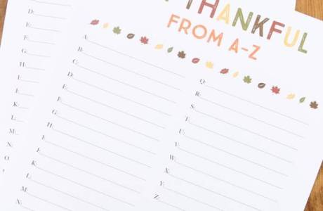 I'm Thankful From A-Z Printable Worksheet