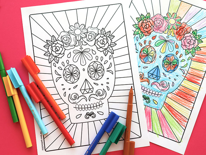 Halloween Printable: Day of the Dead Sugar Skull Colouring Page?