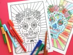 Halloween Printable: Day of the Dead Sugar Skull Colouring Page