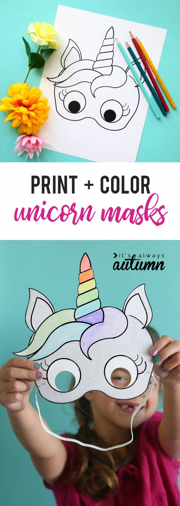 photo relating to Free Printable Unicorn Mask titled Do it yourself Unicorn Masks in the direction of Print and Shade S Scheduling