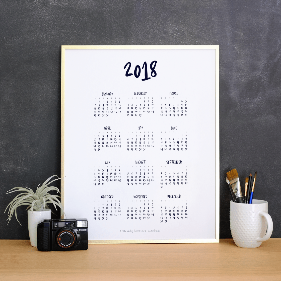 Printable 2018 Calendar – Scrap Booking