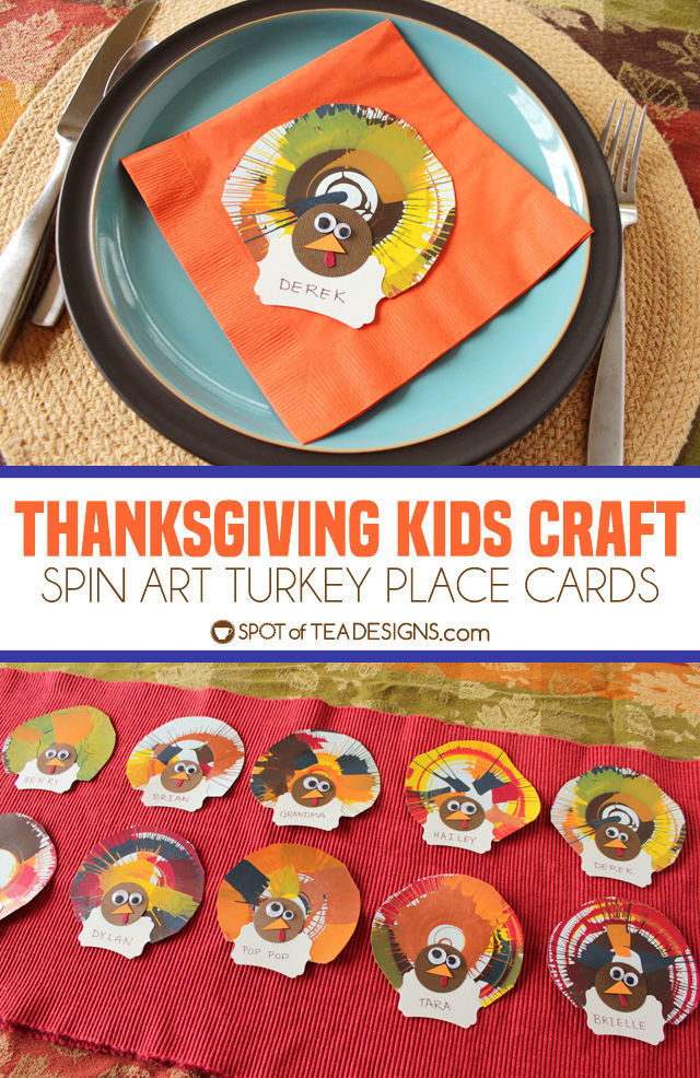 Thanksgiving Kids Craft: Spin Art Turkey Place Cards