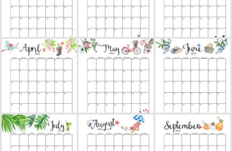 2018 Printable Monthly Calendar with Planner Extras