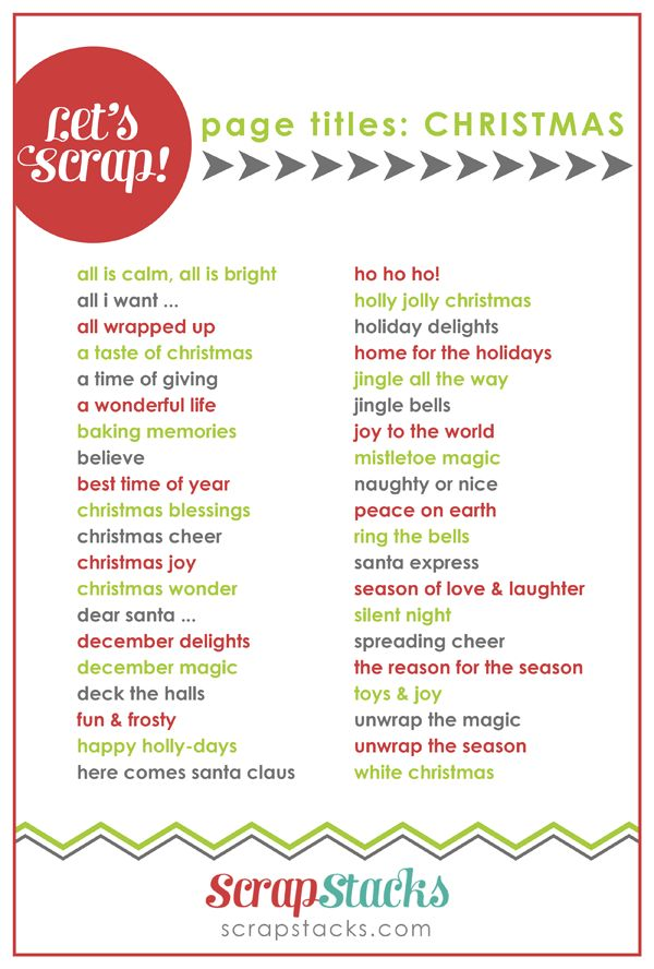 40 Christmas Scrapbooking Page Titles Scrap Booking