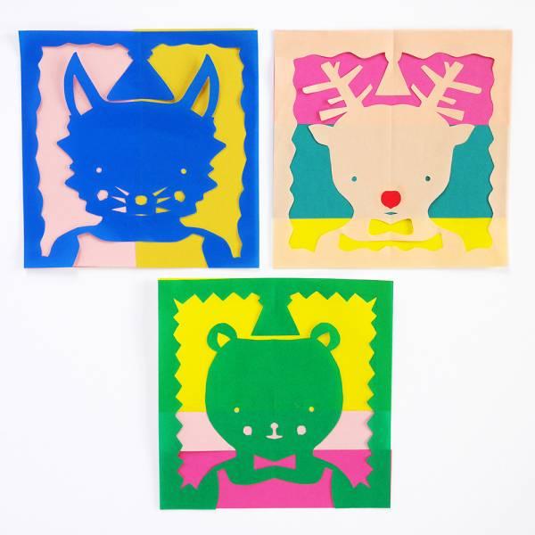 Colorful Kirigami Animal Holiday Cards