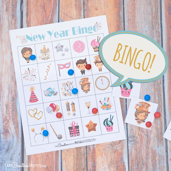 New Year's Eve Bingo Game for Kids