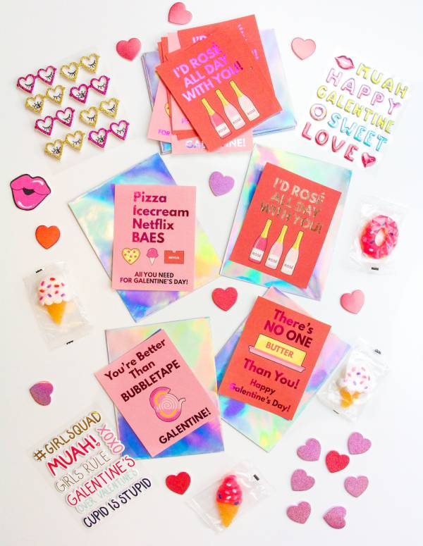 Printable Galentine's Day Cards + DIY Foiling