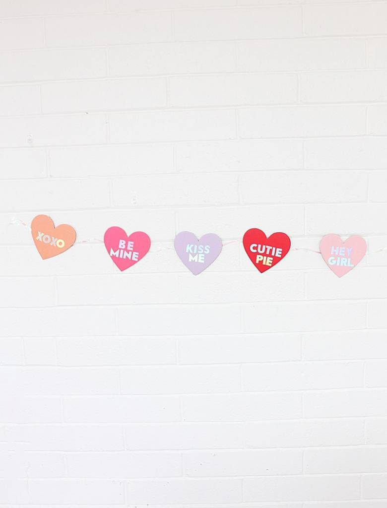 DIY Holographic Conversation Heart Banner