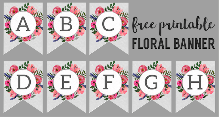 Floral Alphabet Banner Letters Printable Scrap Booking