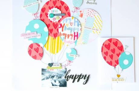 Big Balloons Scrapbook Page and Card
