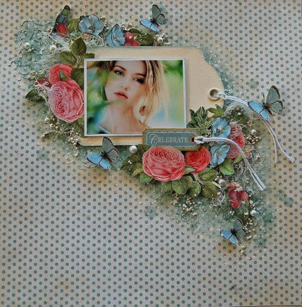 Floral and Butterfly Mixed Media Layout