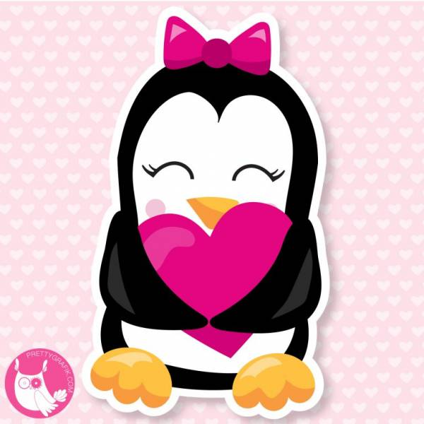 Valentine Penguin Printable