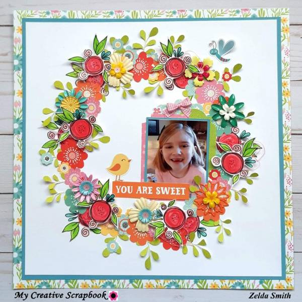 Fussy Cut Floral Wreath Layout