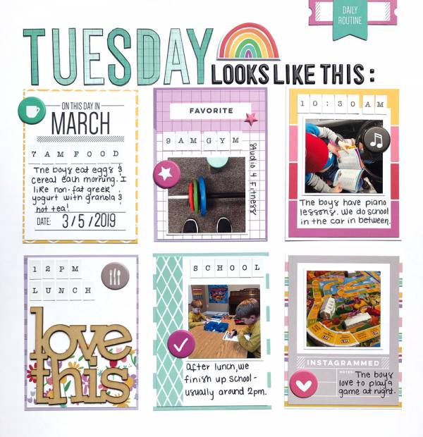 Day of the Week Scrapbook Page
