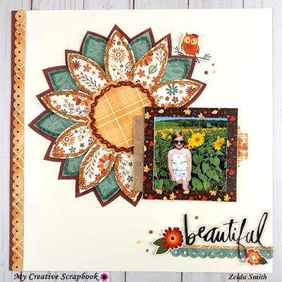 Stitched Sunflower Layout
