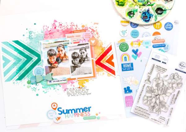 Summer Pool Watercolor Layout