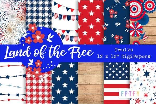 12 Patriotic Pattern Papers
