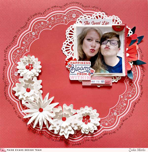 Red and White Doily Layout