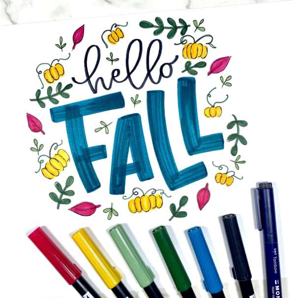 Hello Fall Hand Doodle Lettering