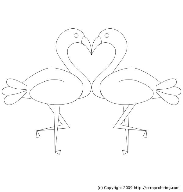 flamingos kiss and heart