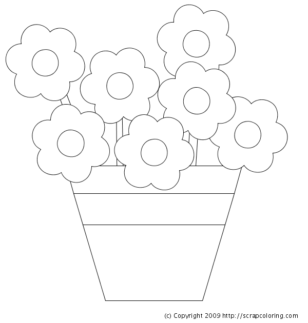 Flowers in Pot coloring page