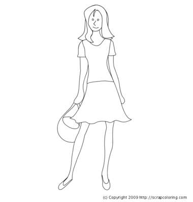 Young woman with swimsuit and pareo coloring page