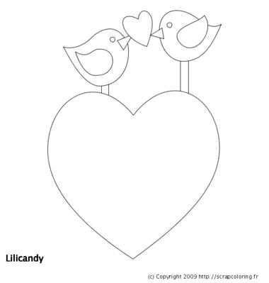 Coloriage Oiseau et Coeur