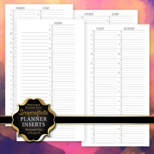 WO4P Quarter Hour Personal Size Printable Planner Inserts