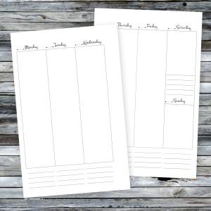 Planner Printable Insert Refill Undated WO2P Half Page fits A5 Binder – Filofax, Kikki K, Erin Condren width columns