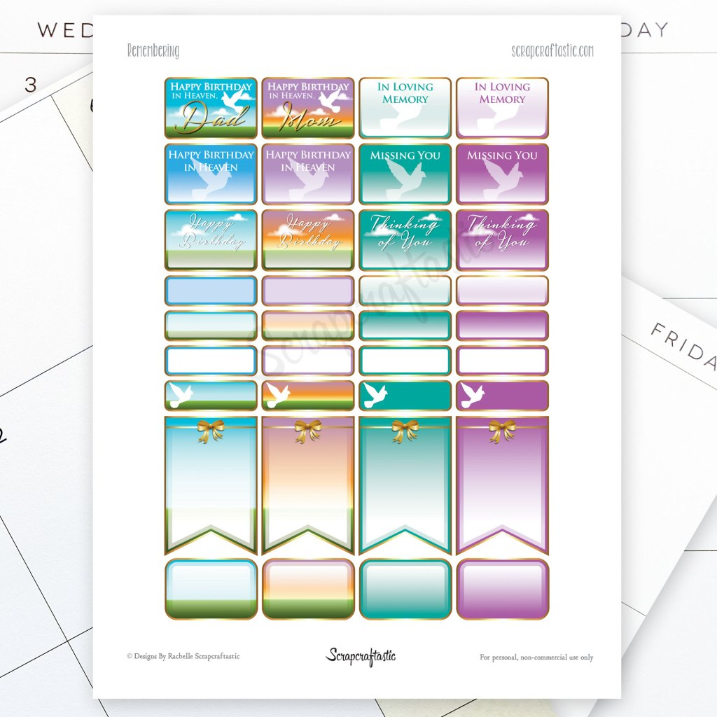 Remembering Printable Planner Stickers