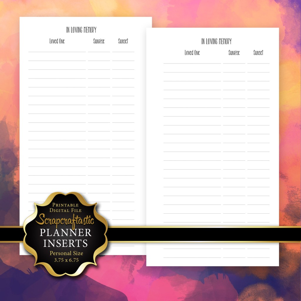 In Loving Memory Personal Size Printable Planner Inserts