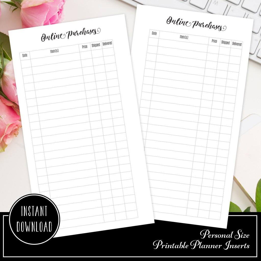 Online Purchase/Order Tracker Printable Planner Insert Refill | Personal Size Planner
