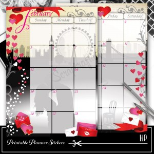 The Kiss February Spread Printable Planner Sticker Overlay for classic size Mambi Happy Planner