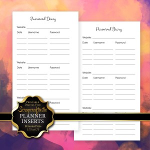 Password Diary Personal Size Printable Planner Insert