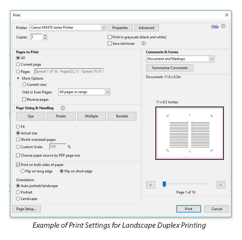 Example of Print Settings for Landscape Duplex Printing