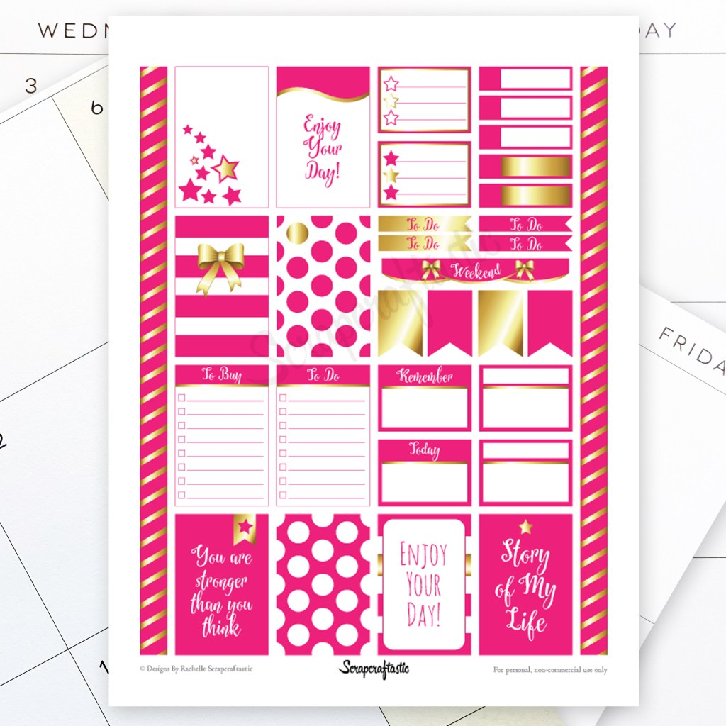 All Hot Pink Pro Printable Planner Stickers for MAMBI Happy Planner