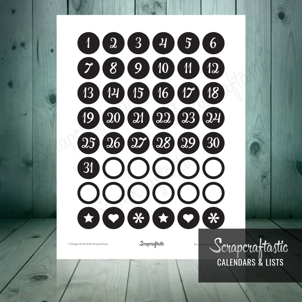 Planner Pro Black DIY Calendar, List and Monthly Challenge Numbered Printable Planner Stickers