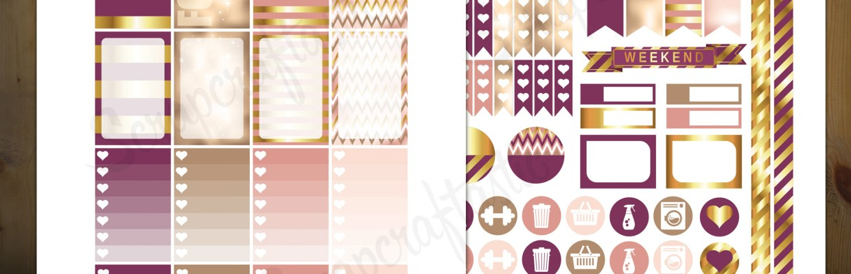 Sophisticates Pattern, Plum, Gold, Pink Everyday Series Printable Planner Stickers