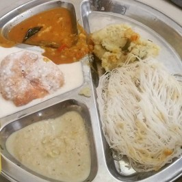 Vada & curd, chutney, sambar, pungol.