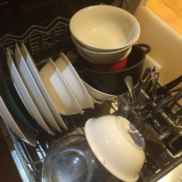 My son's idea of stacking the dishwasher!