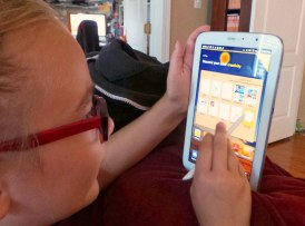 My daughter using a tablet.